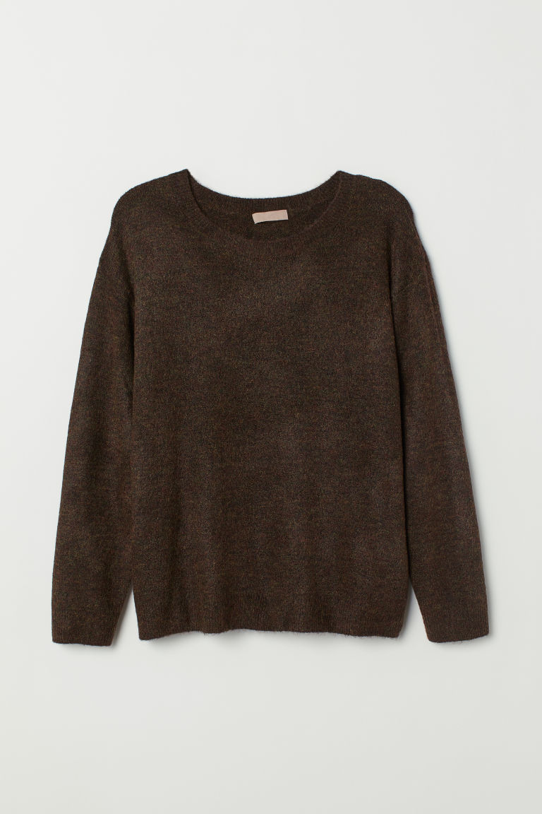 H&M+ Knitted jumper - Dark brown marl - Ladies | H&M
