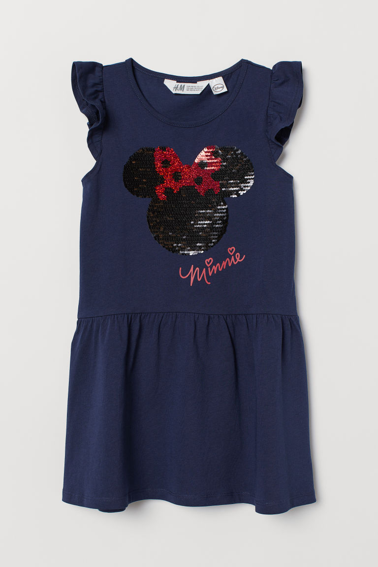 Dress with Sequins - Dark blue/Minnie Mouse -  | H&M CA