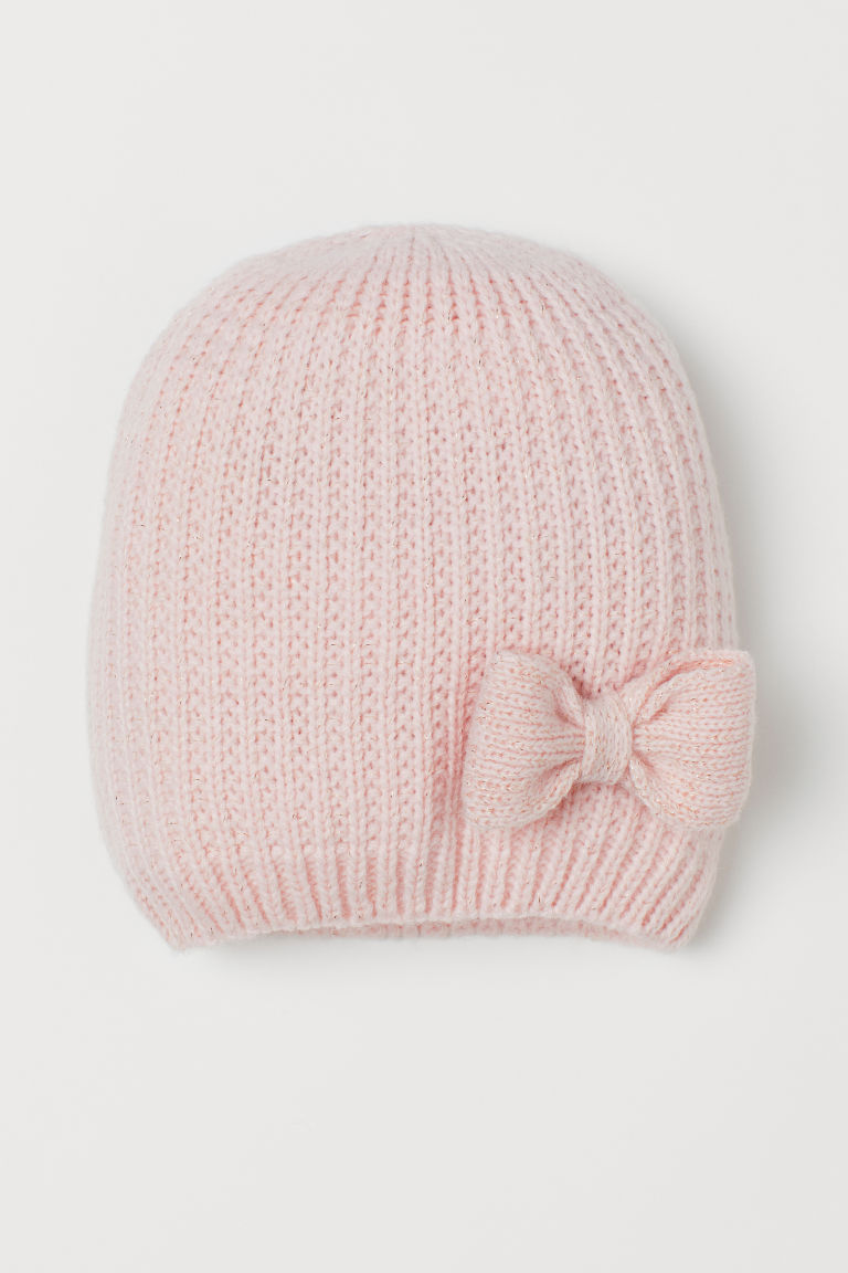 Knitted hat with a bow - Light pink - Kids | H&M GB