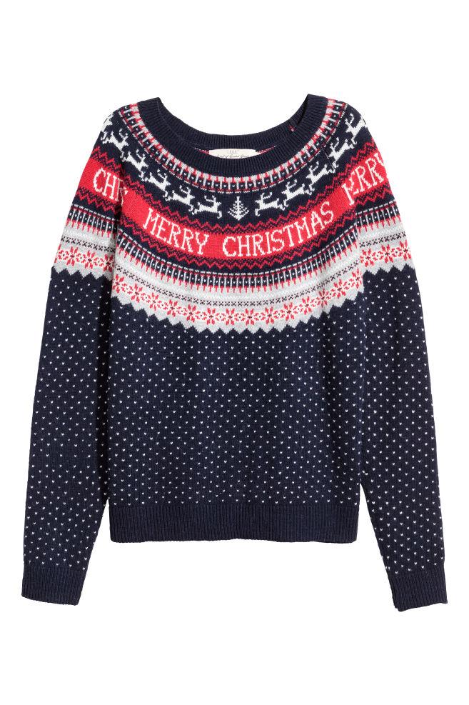 77dd08340 Jacquard-knit jumper - Dark blue - Ladies