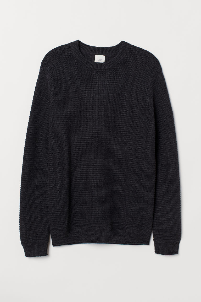 Textured-knit cotton jumper - Anthracite grey - Men | H&M IE