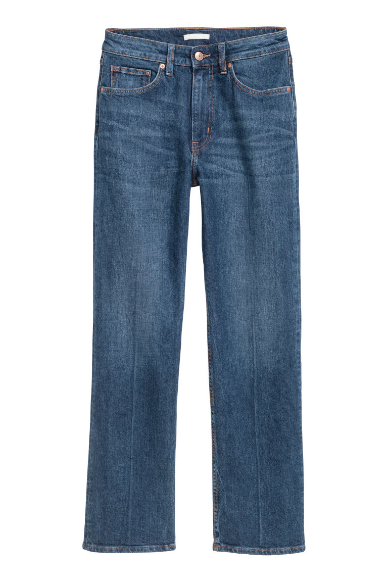 Straight Regular Cropped Jeans - Donker denimblauw - DAMES | H&M BE