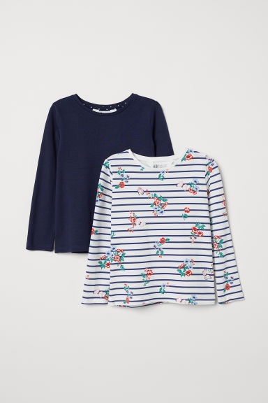 2-pack jersey tops - Dark blue/White - Kids | H&M