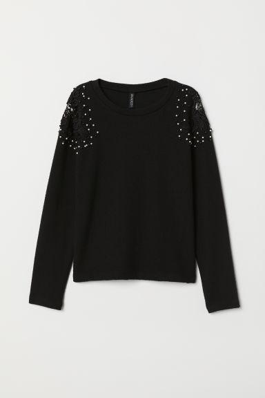 Jumper with embroidery - Black -  | H&M