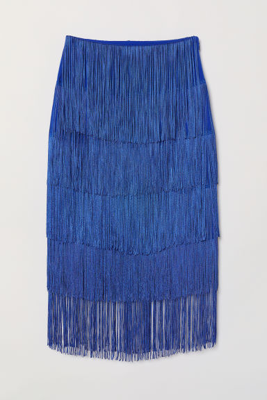 Skirt with fringing - Bright blue - Ladies | H&M CN