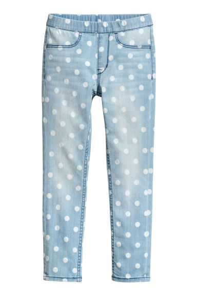 Leggings in denim fantasia - Blu denim chiaro/pois - BAMBINO | H&M IT