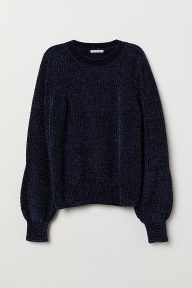 Trui van chenille - Donkerblauw - DAMES | H&M BE