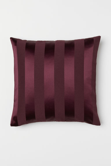 Jacquard-weave cushion cover - Burgundy/Striped - Home All | H&M CN