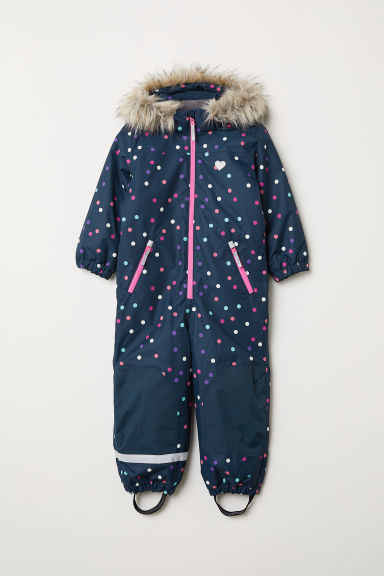 Padded outdoor all-in-one suit - Dark blue/Spotted - Kids | H&M