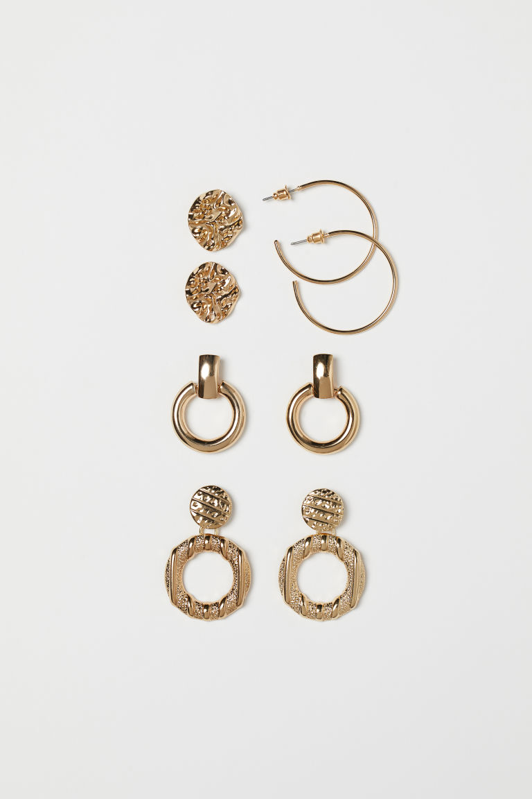 4 Pairs Earrings - Gold-colored - Ladies | H&M CA