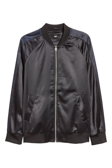 Satin bomber jacket - Black/Dark blue - Men | H&M GB