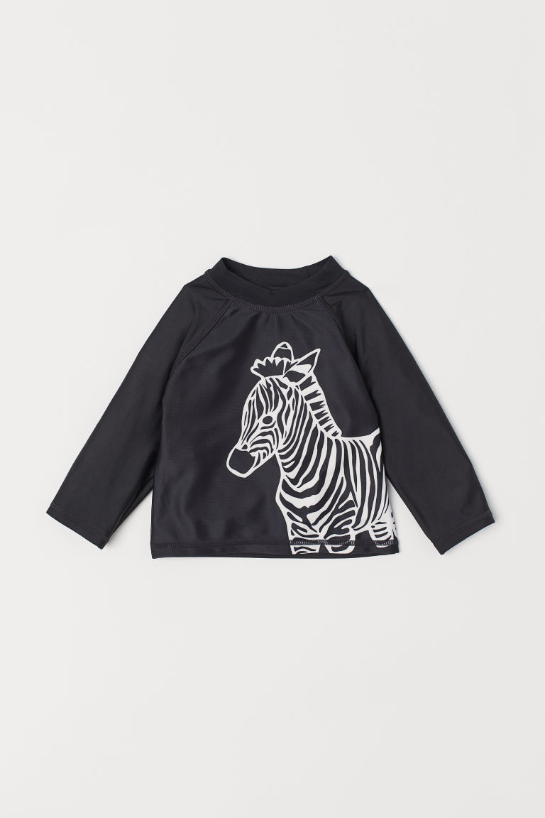 Swim Top UPF 50 - Black/zebra print - Kids | H&M US