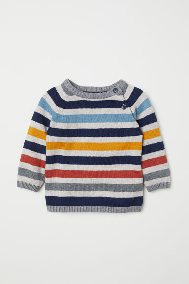Fine-knit cotton jumper - Grey/Striped - Kids | H&M CN