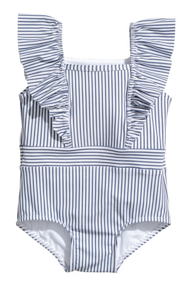 Swimsuit with frills - White/Blue striped -  | H&M