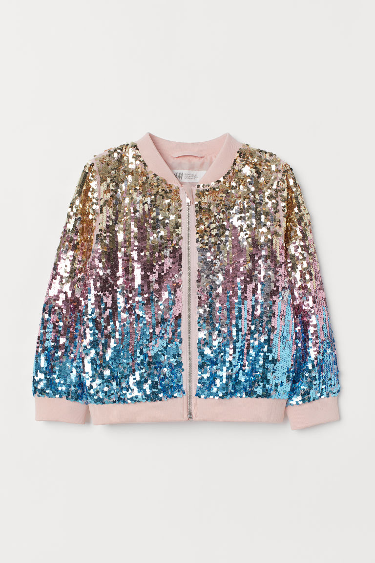 Bomber jacket with sequins - Pink/Multicoloured - Kids | H&M