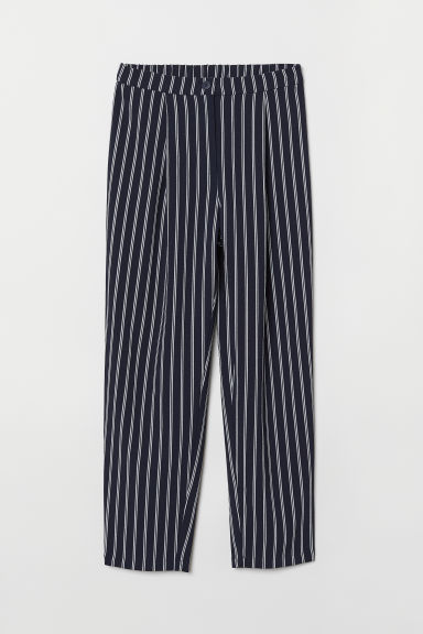 Wide trousers - Dark blue/White striped - Ladies | H&M