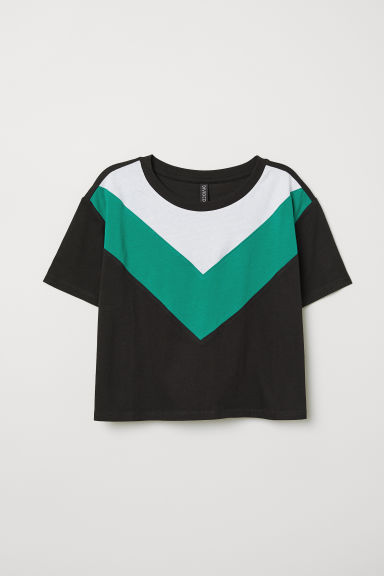 Cropped T-shirt - Black -  | H&M CN