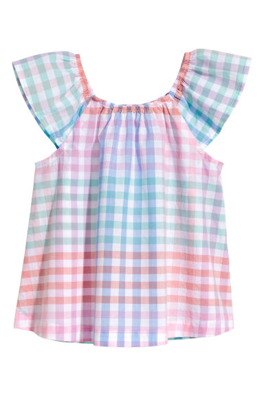 Patterned cotton blouse - Pink/Checked - Kids | H&M CN