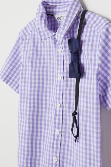 69eb6fbd29a Риза с вратовръзка/папийонка - Бял/Вратовръзка - ДЕЦА   H&M BG