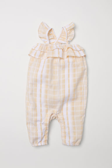 Romper suit with frills - Light yellow/White striped - Kids | H&M CN