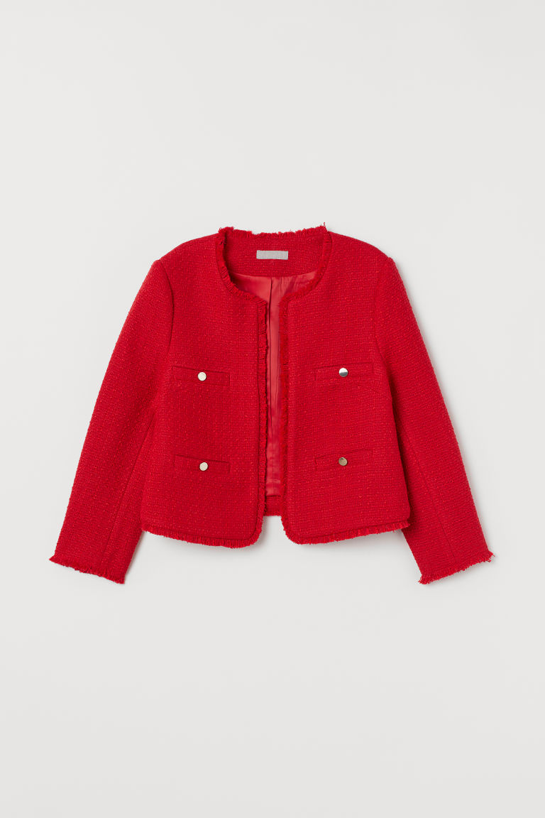 Textured jacket - Bright red - Ladies | H&M
