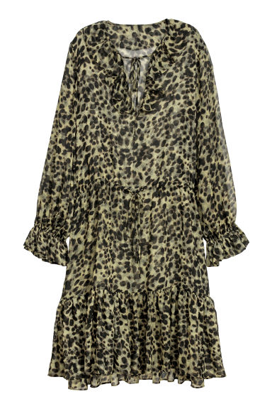 Patterned chiffon dress - Green/Leopard print - Ladies | H&M GB