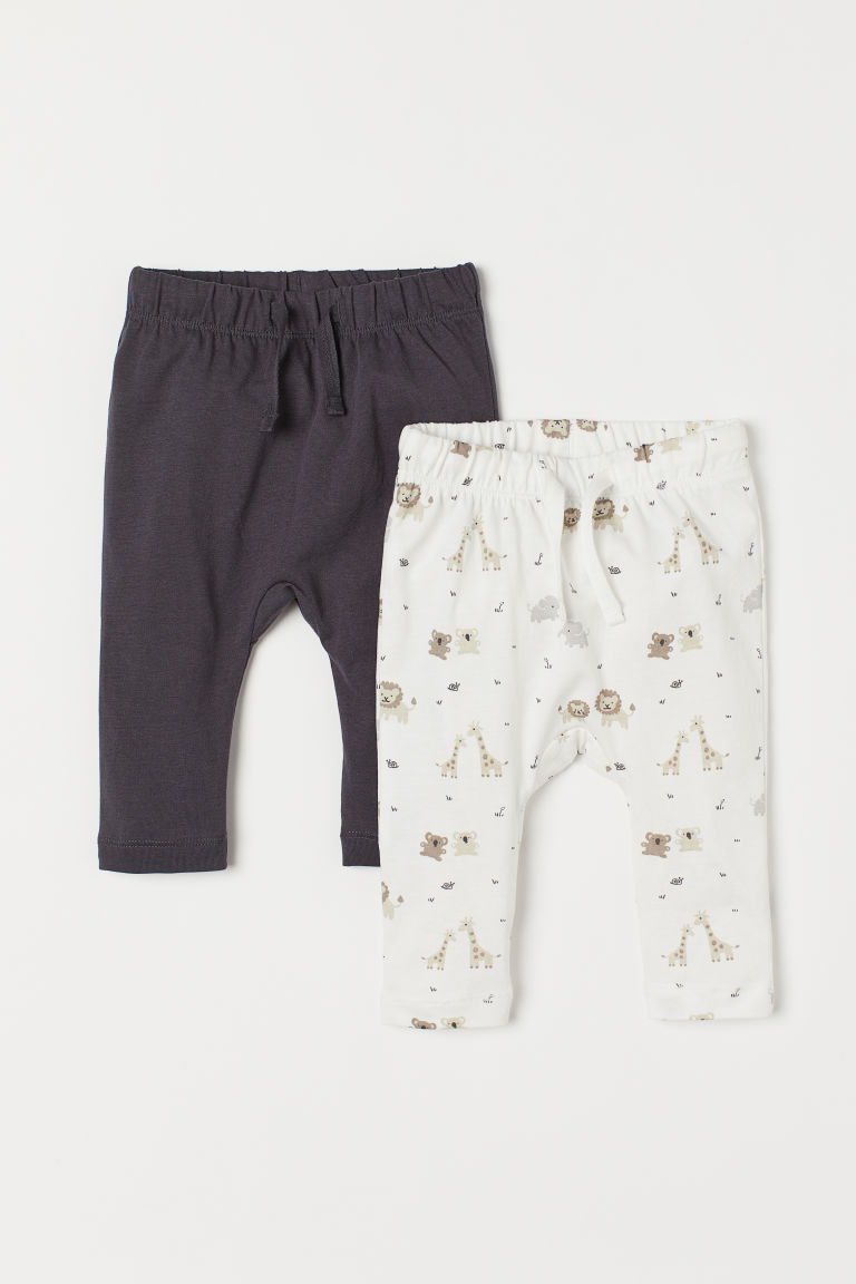 2-pack Jersey Pants - White/animals - Kids | H&M US