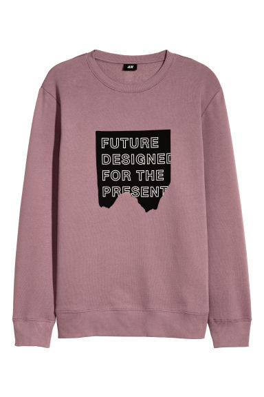 Printed sweatshirt - Dark old rose - Men | H&M CN