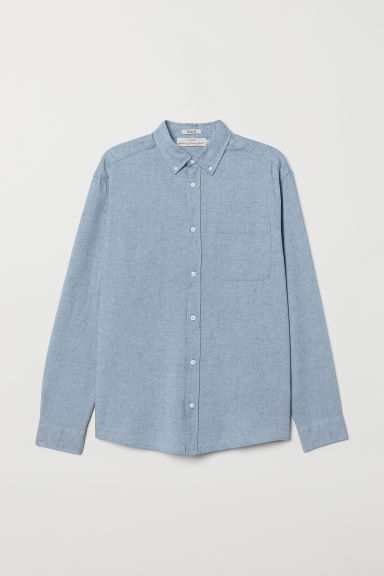Cotton shirt Regular Fit - Light blue/Nepped - Men | H&M