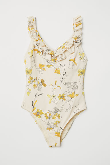 Swimsuit with frills - Light beige/Floral - Ladies | H&M IE