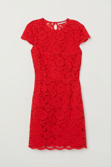 Lace dress - Bright red - Ladies | H&M