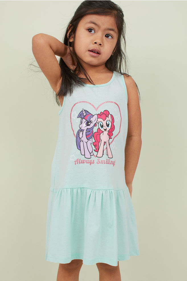 017f02192 Printed jersey dress - Light turquoise/My Little Pony - Kids | H&M ...