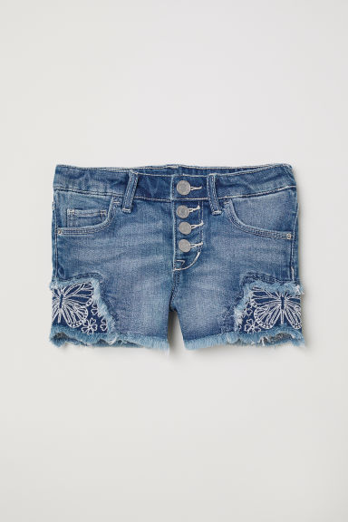 Jeansshort met borduursel - Denimblauw -  | H&M BE