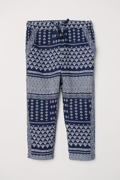 Patterned pull-on trousers - Dark blue/Patterned -  | H&M CN