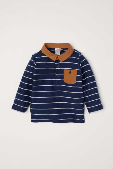 Top with a collar - Dark blue/Camel - Kids | H&M
