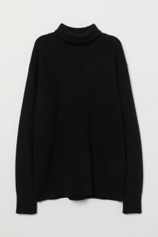 Cashmere-mix polo-neck jumper
