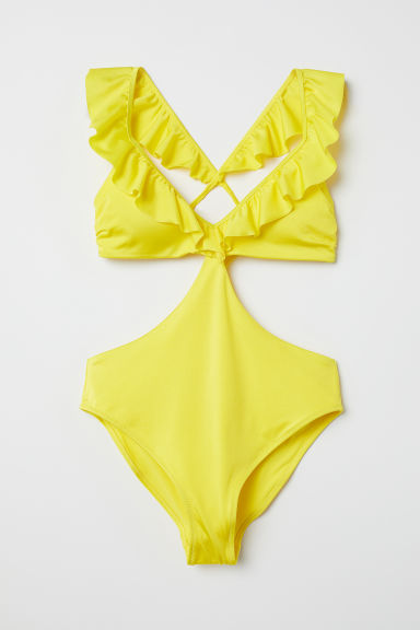 Swimsuit with frills - Yellow - Ladies | H&M GB