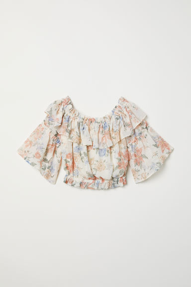 Off-the-shoulder blouse - Natural white/Floral - Ladies | H&M