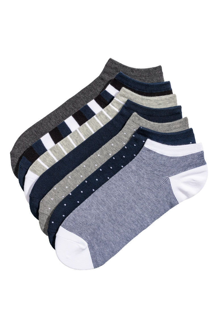 7-pack Ankle Socks - Dark blue/multicolored - Men | H&M US