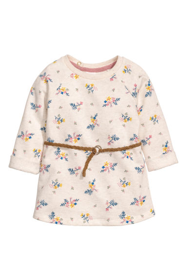 Sweatshirt dress - Light beige/Floral - Kids | H&M CN