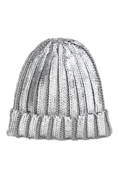 Ribbed hat - Grey/Silver-coloured - Ladies | H&M
