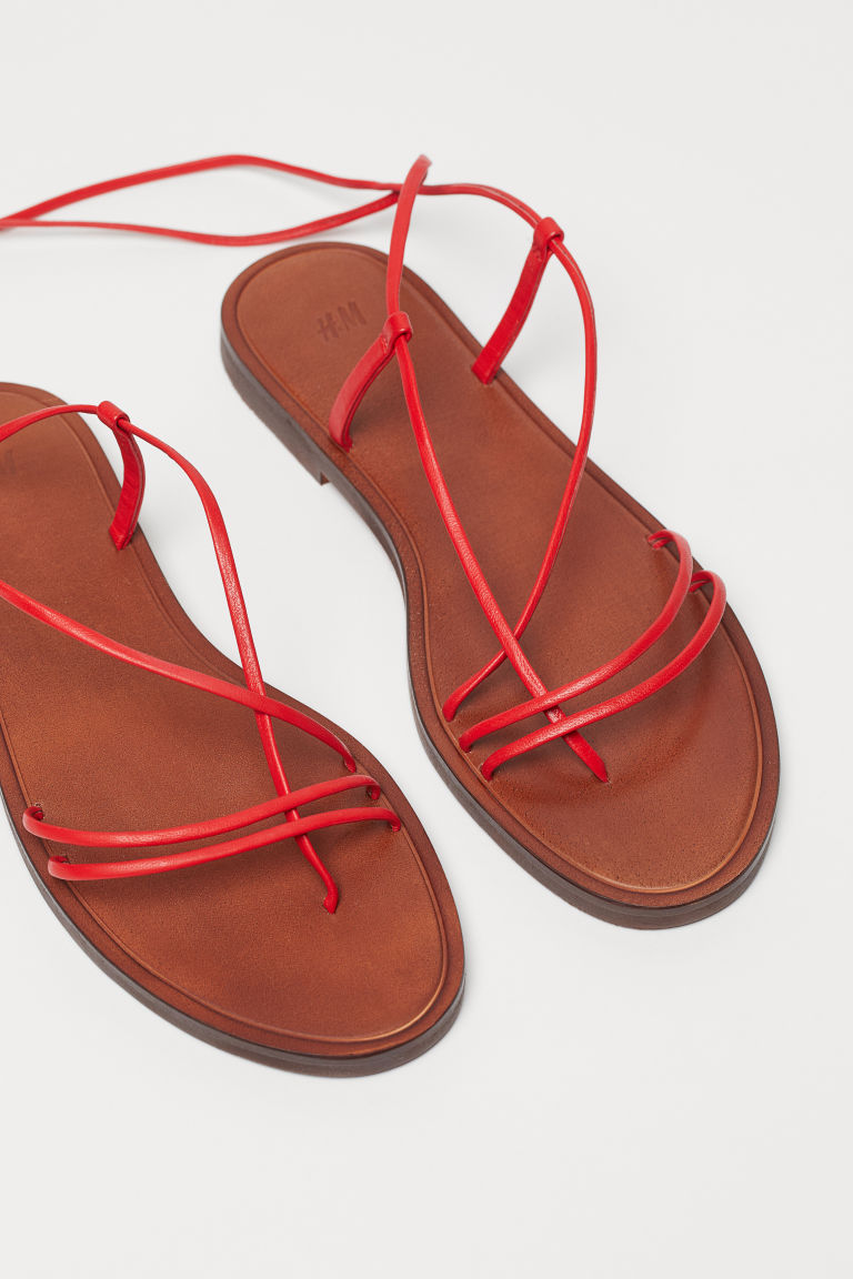 Leather sandals - Red - Ladies | H&M