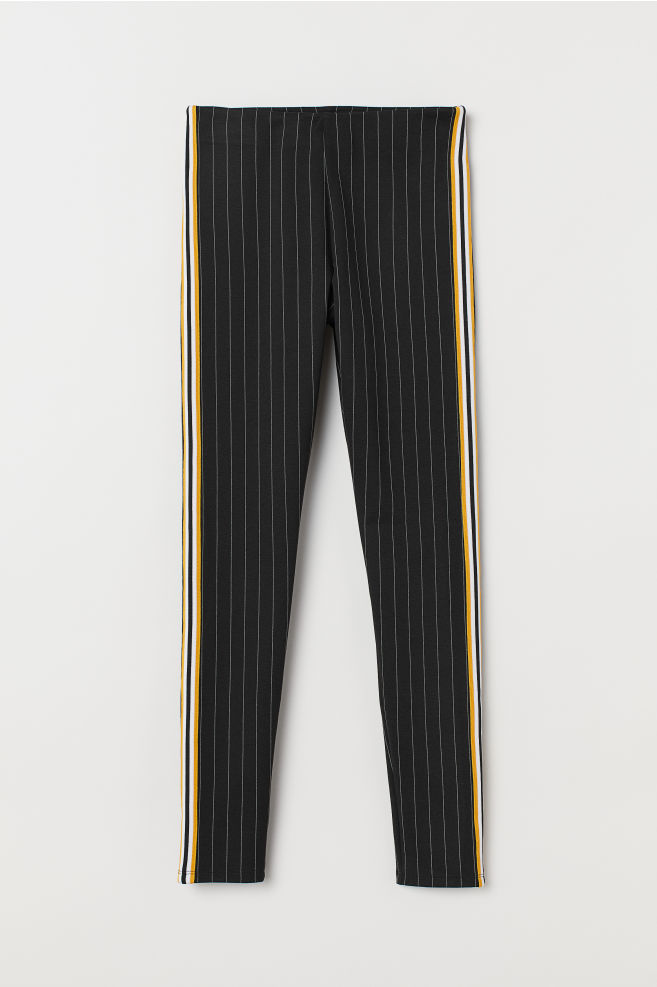... Leggings with Side Stripes - Black pinstriped - Ladies  05f3a1c450fbd