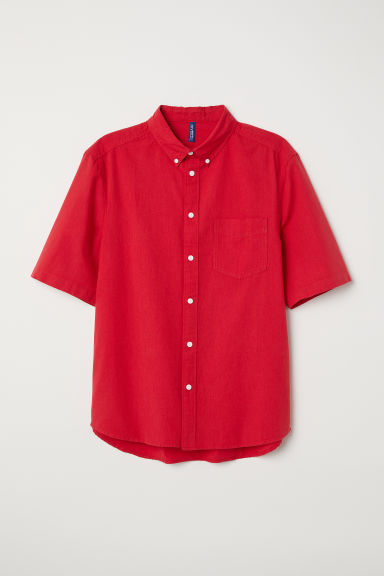Cotton shirt Regular fit - Red - Men | H&M