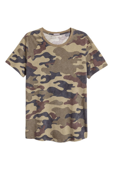 T-shirt with worn details - Khaki green/Patterned - Men | H&M IE