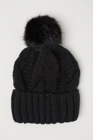 Cable-knit hat - Black - Ladies | H&M