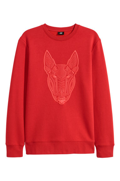 Printed sweatshirt - Bright red - Men | H&M