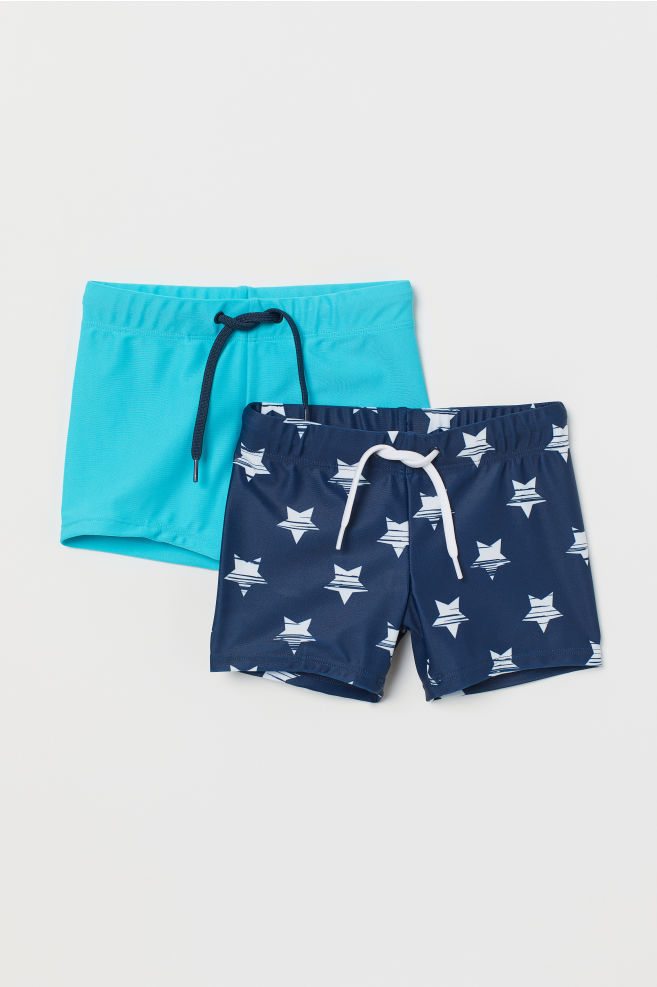 002dc0aa2c 2-pack Swim Trunks - Dark blue/stars - Kids | H&M ...