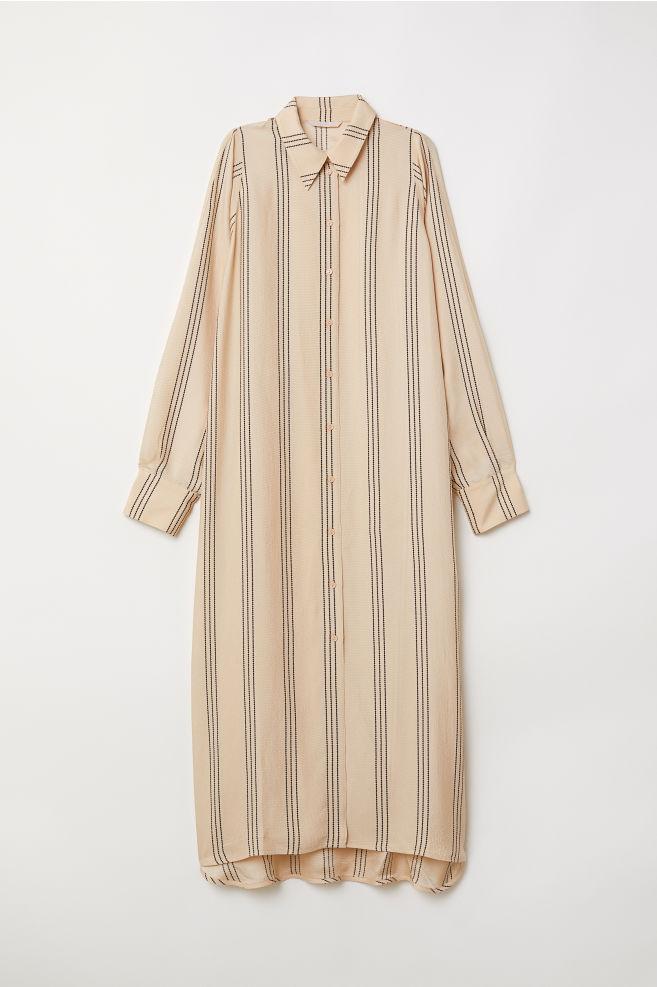 eaad140aa6 Calf-length shirt dress - Beige/Striped - Ladies | H&M ...