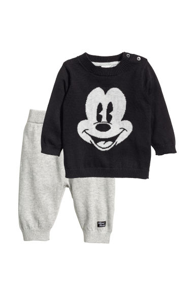 Cotton jumper and joggers - Black/Mickey Mouse - Kids | H&M